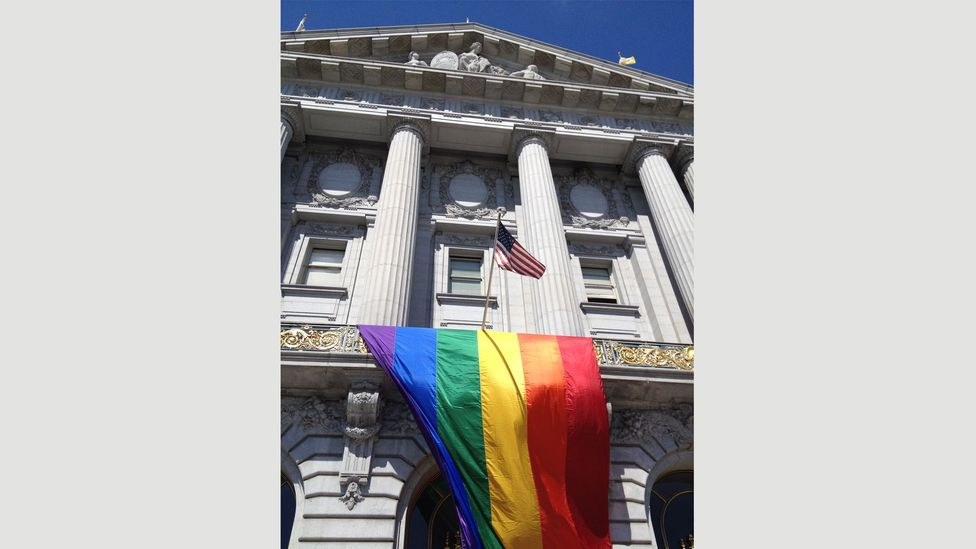 Gay activist Harvey Milk was killed in San Francisco City Hall in 1978 (Credit: Getty Images)