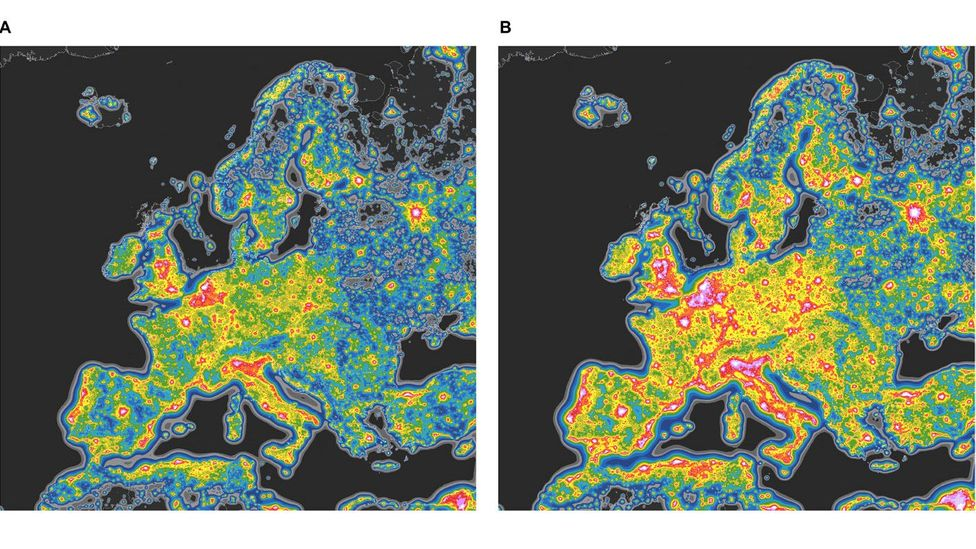 Map A shows the current level of sky brightness across Europe, while Map B estimates sky brightness should we use 4000K CCT LED street lights (Credit: F. Falchi, et al., CC BY-NC)