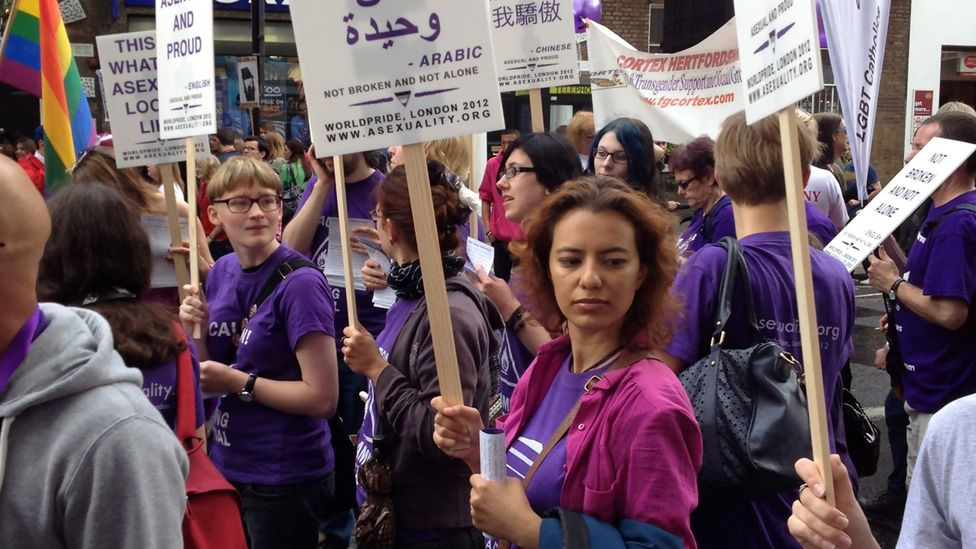 Asexual campaigners now march regularly in Pride events (Credit: Aven)