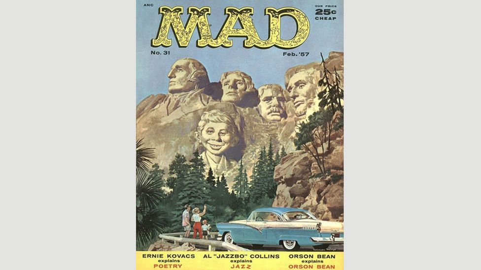 Mad Magazine is just one of many magazines, films, and TV shows to make fun of Mt Rushmore, which was initially intended to drive tourism to South Dakota (Credit: Mad Magazine)