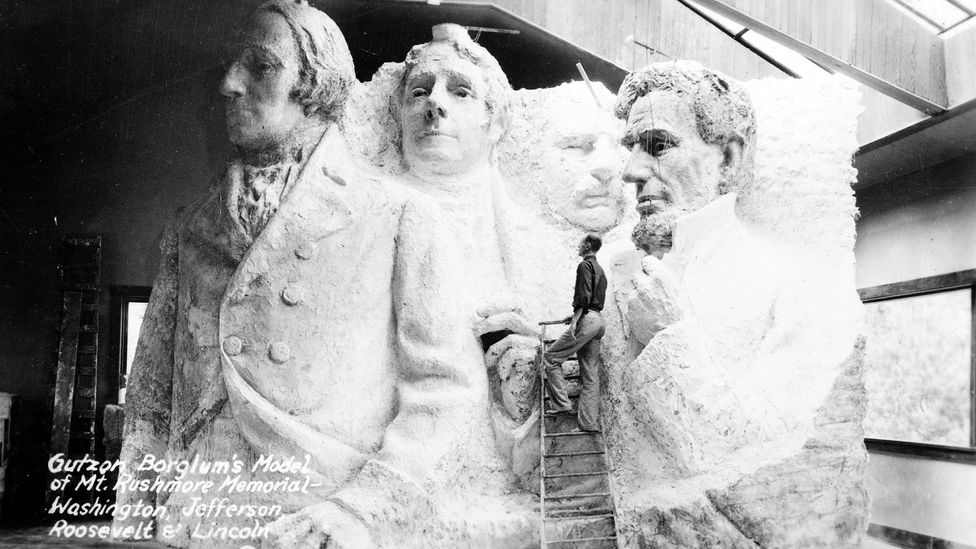 Some wanted the monument to feature Western heroes like Red Cloud and Buffalo Bill Cody, but the US presidents, initially to have been carved to mid-torso, won out (Credit: USL)