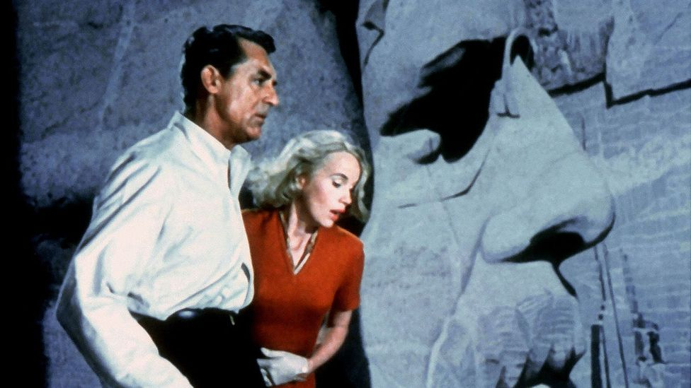 Alfred Hitchcock set the climax of North by Northwest on the faces of Mount Rushmore, although he shot the scene in a studio (Credit: Alamy)