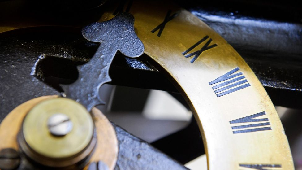 A close-up of one of the dials on the clock mechanism (Credit: UK Parliament/Jessica Taylor)