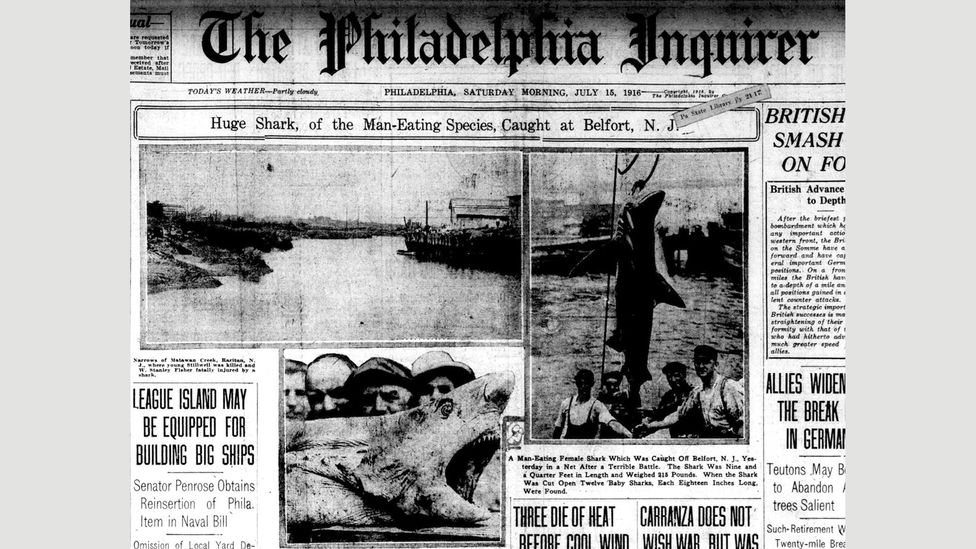 The Jersey shark attacks briefly displaced World War One from the front pages of US newspaper (Credit: The Philadelphia Inquirer)
