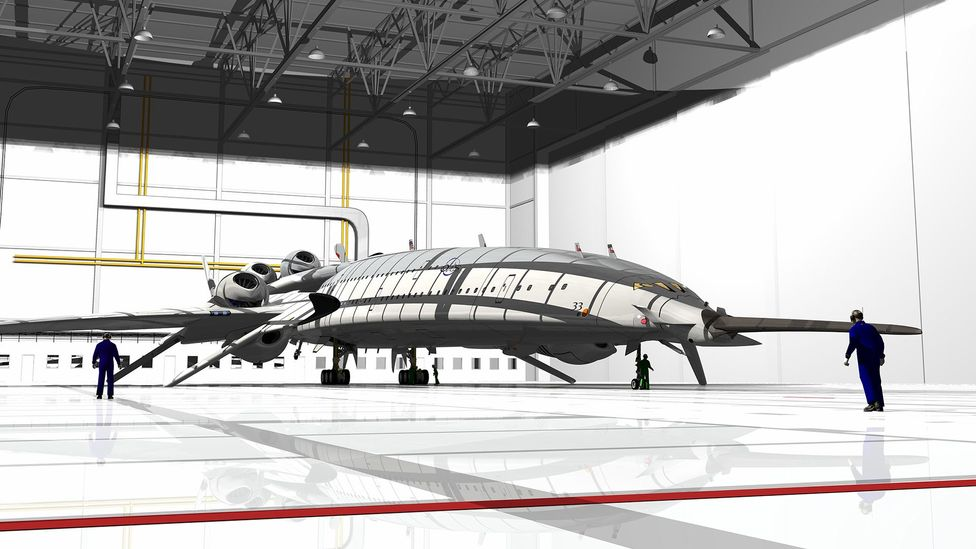 The giant aircraft would carry up to 250 passengers at three times the speed of sound (Credit: Oscar Vinals)