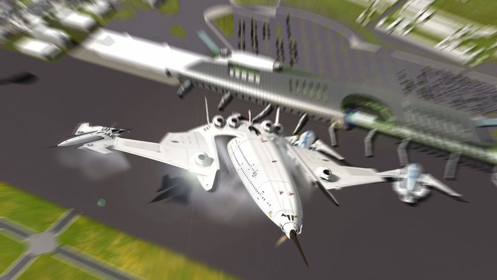 The Flash falcon would be able to take off and land like a helicopter thanks to its moveable engines (Credit: Oscar Vinals)