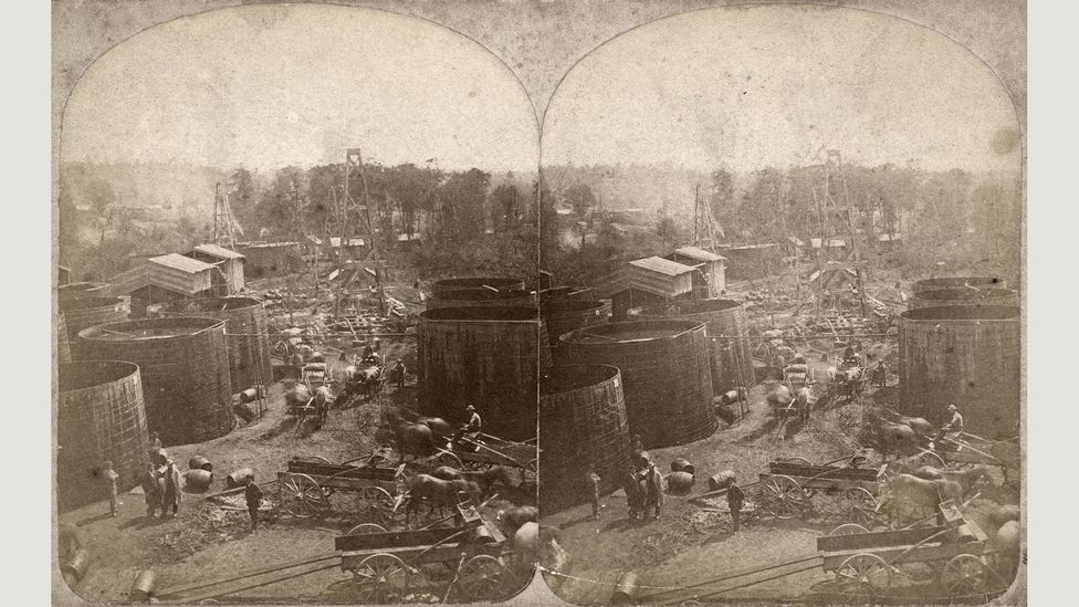 In 1865, drillers flooded into previously uninhabited Pithole. The town had a peak population of 20,000 but by 1870 that had fallen to just 237 (Credit: Alamy)