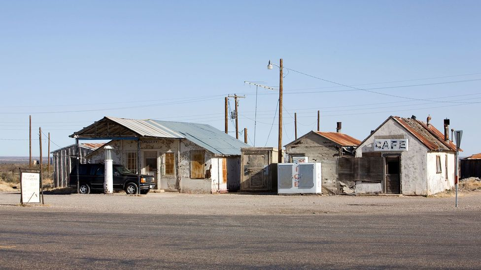 """Some oil boom """"towns"""" were often the sites of camps with temporary housing for workers, as was the case in Orla, Texas."""