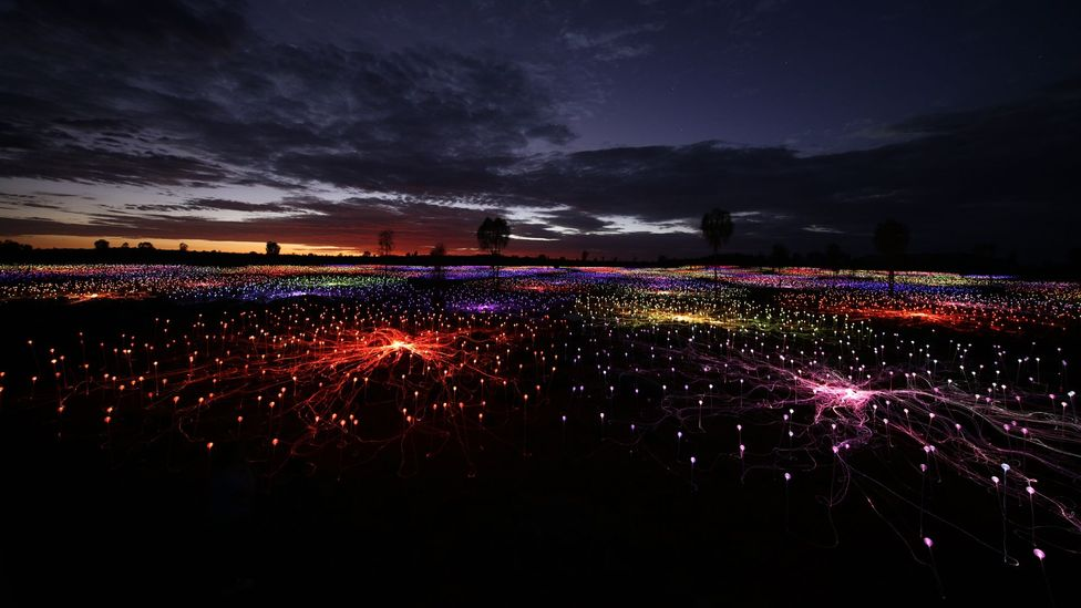 The 49,000 square metre light installation was transported 11,800 miles overseas (Credit: Mark Pickthall)