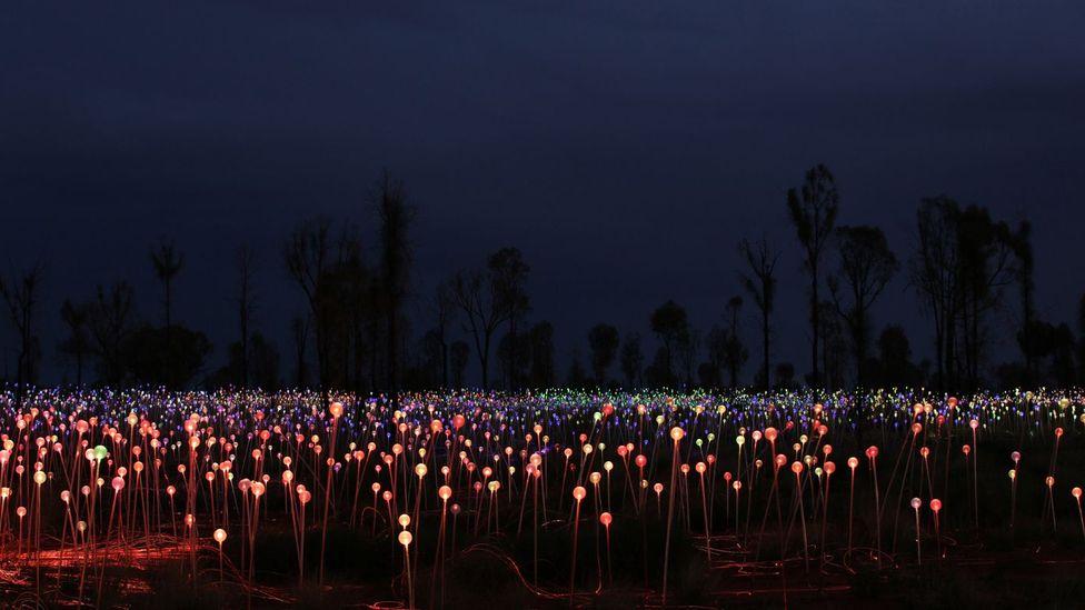 The illuminated landscape shines bright against dark skies (Credit: Mark Pickthall)