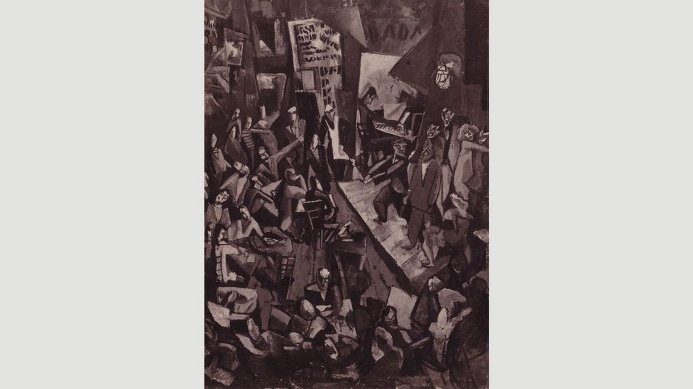 Marcel Janco's painting of a night in the Cabaret Voltaire from 1916 now survives only in a reproduction on a postcard (Credit: Marcel Janko)