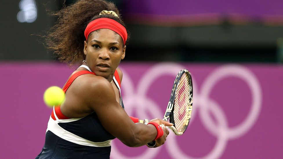 Serena Williams returns a shot to Russia's Vera Zvonareva at the London 2012 Olympics (Credit: Getty Images)