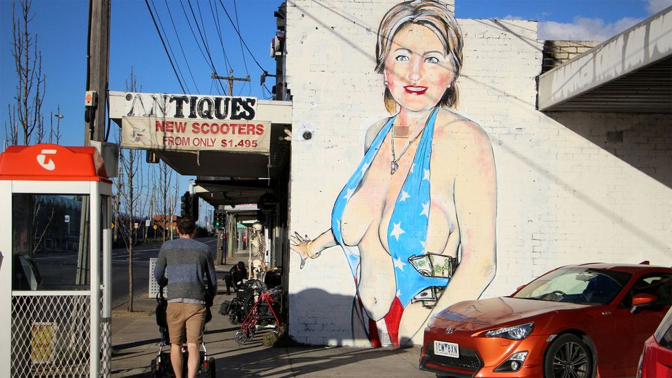 """We believe it is offensive because of the depiction of a near-naked woman, not on the basis of disrespect to Hillary Clinton,"" a local official told ABC News (Credit: Reuters)"