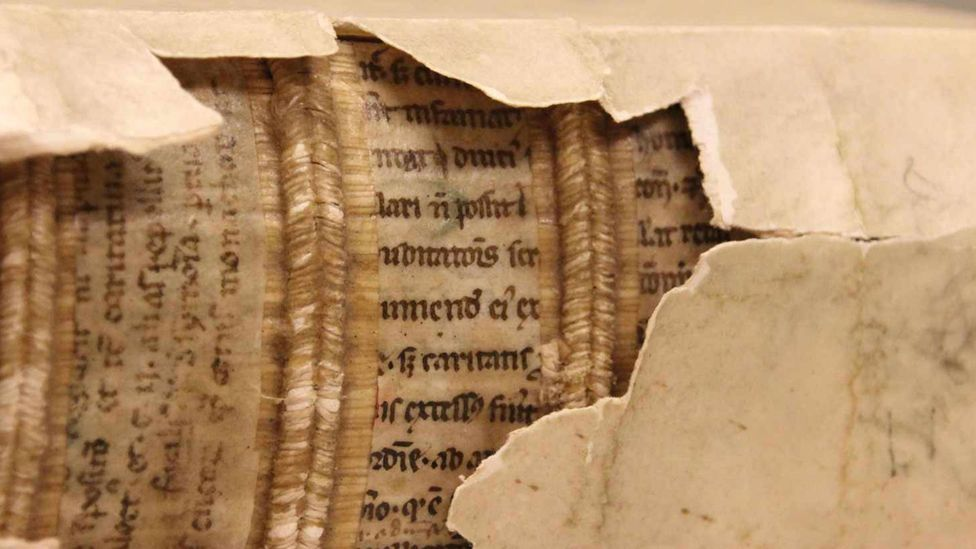 "Historian Erik Kwakkel discovered ""hidden libraries"" within Medieval book bindings (Credit: Erik Kwakkel)"