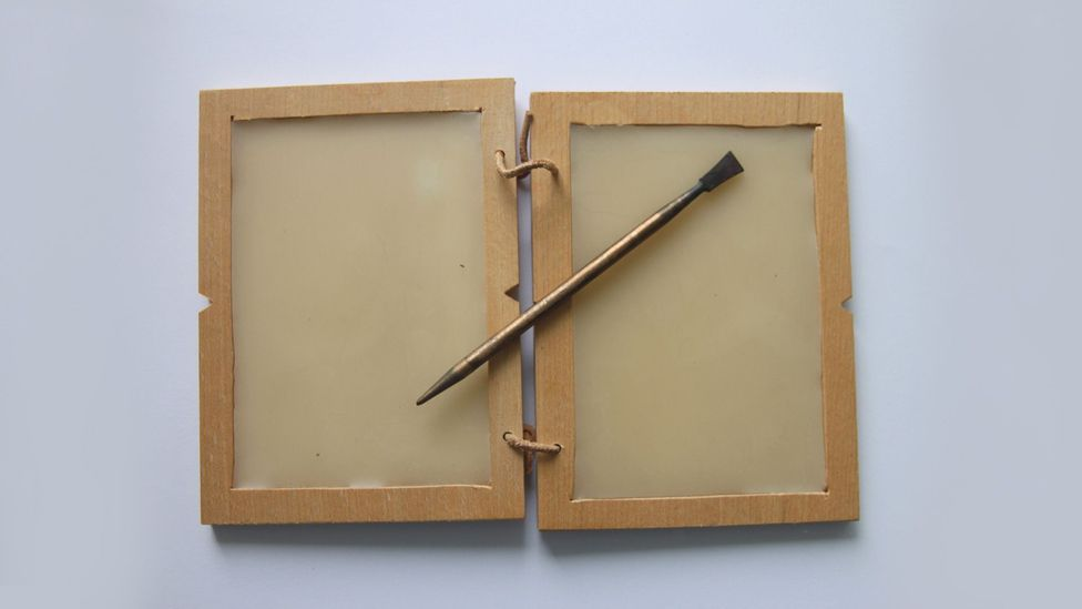 A modern model of a diptych, or two-fold writing tablet (Credit: Image courtesy of Peter van der Sluijs / CC-BY-SA 3.0 / Wikipedia)