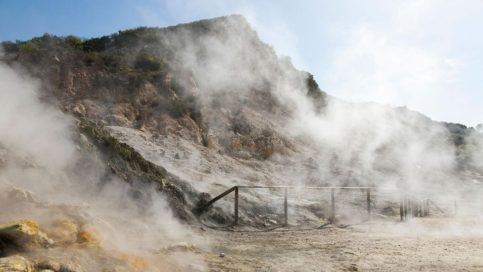 Campi Flegrei shows itself via hot, sulphurous outpourings, rather than as a giant cone (Credit: Alamy)