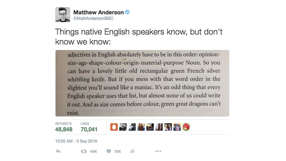 BBC Culture's editor Matthew Anderson tweeted a passage from Mark Forsyth's The Elements of Eloquence and it went viral (Credit: Matthew Anderson)