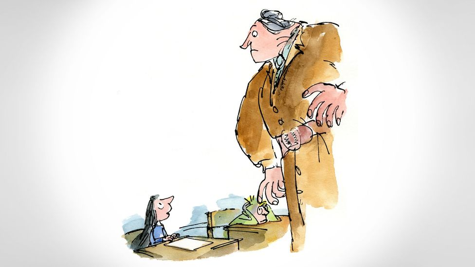 Villains like Matilda's Miss Trunchbull loom large in his books, towering over pint-sized protagonists (Credit: Illustrations ©Quentin Blake)