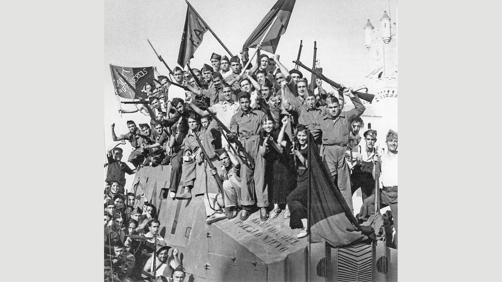 Anarchists tried to set up a version of a 'utopian' society in Barcelona during the Spanish Civil War, one which suspended authority and rank (Credit: Pictorial Press Ltd/Alamy)