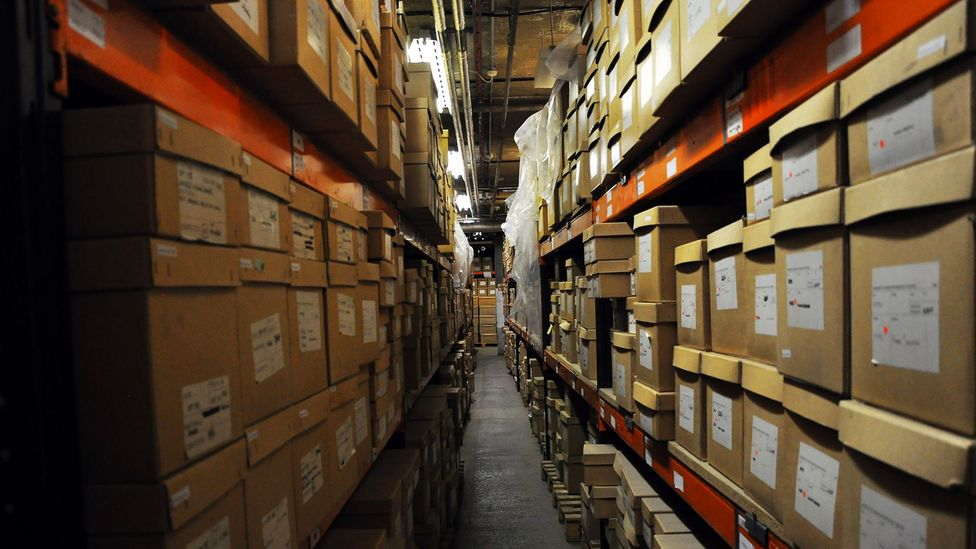 Beneath the Museum of London, a warehouse holds shelf after shelf of boxes – each one filled with human bones (Credit: Amanda Ruggeri)