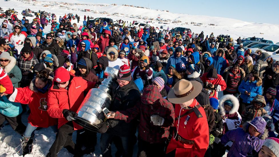 Hundreds of residents crowded around the trophy to see it in real life (Credit: Eric Guth)