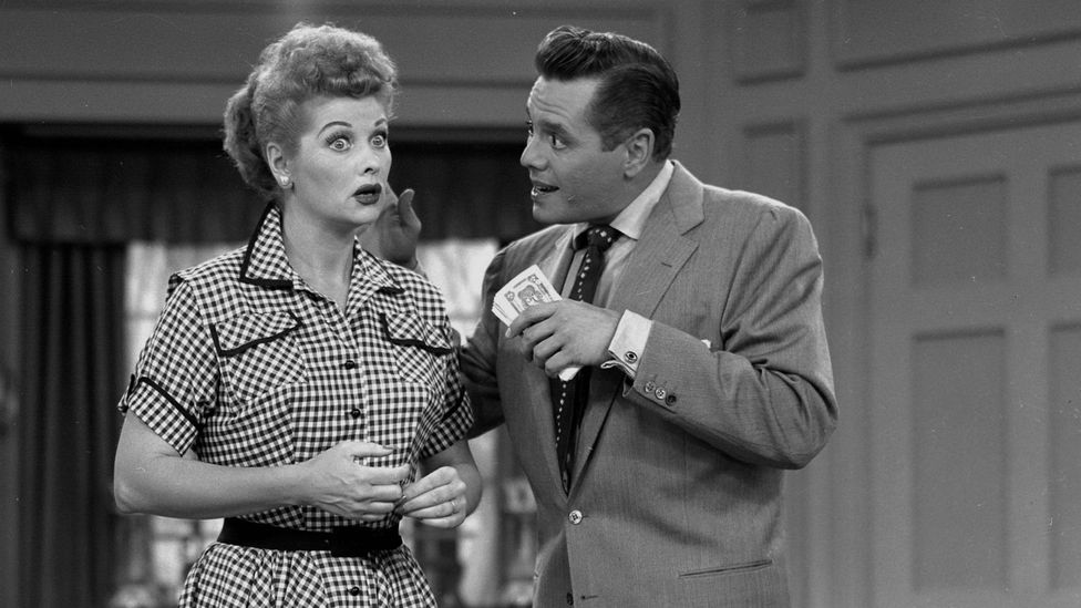 I Love Lucy was shot in front of a live audience using multiple cameras as if it were a play – the laughter was spontaneous (Credit: CBS)