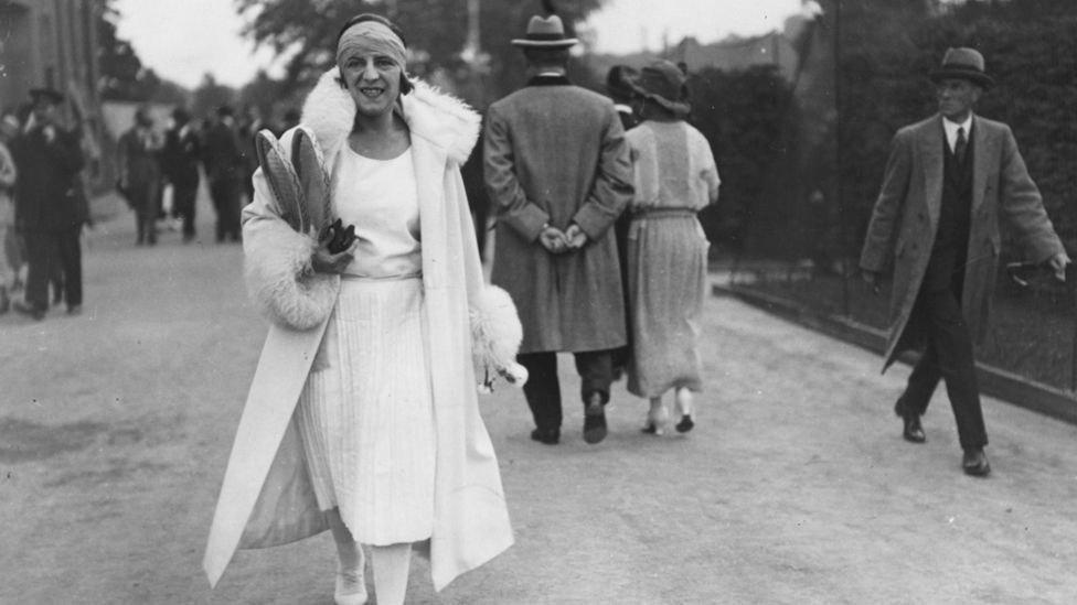 Tennis player Suzanne Lenglen won the gold medal in the women's singles competition at the 1920 Olympics and exemplified the '20s sportswoman (Credit: Wikipedia)