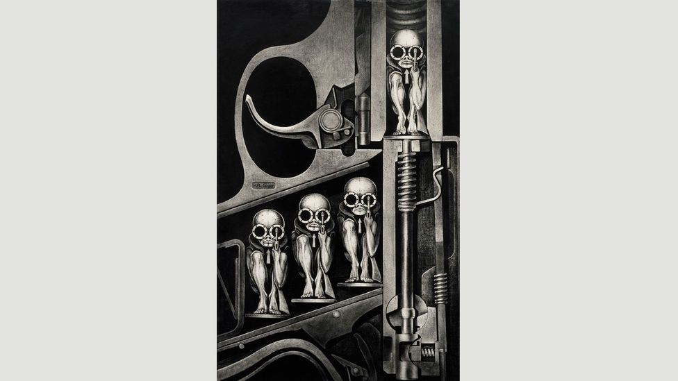 Giger presented a tool for killing as an instrument of birth in Gebärmaschine (Birth Machine), 1967, responding to fears of overpopulation (Credit: HR Giger/Courtesy of Taschen)