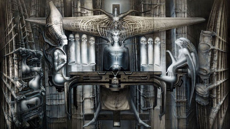 A student of Aleister Crowley, Giger put black magic symbols in his work, such as in The Spell II, 1974, featuring the man-goat Baphomet (Credit: HR Giger/Courtesy of Taschen)