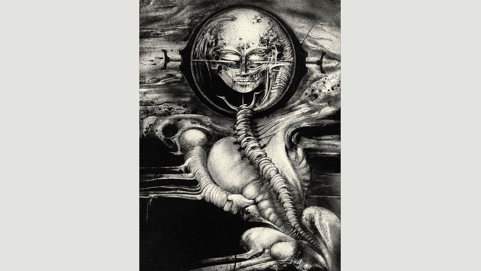 Giger's biomechanical creatures hinted at a future in which our bodies depend on machines for survival, as in Cthulhu (Genius) III, 1967 (Credit: HR Giger/Courtesy of Taschen)