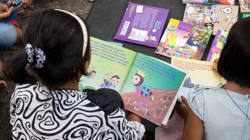 Alimuddin's boat provides books of all kinds and for all ages (Credit: Theodora Sutcliffe)