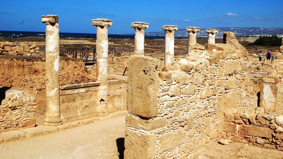 Almost nothing of the temple of Aphrodite at Nea Paphos remains, except for columns (Credit: Andrea Watson)