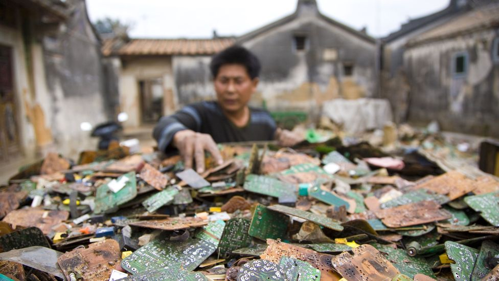 Electronic devices contain many precious metals and rare earth elements, but much of it is extracted in polluting, toxic places such as Guiyu in China (Credit: Getty Images)