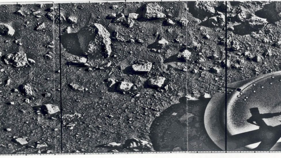 The first image of Mars was taken by the Viking 1 lander after it touched down in 1976 (Credit: Nasa)