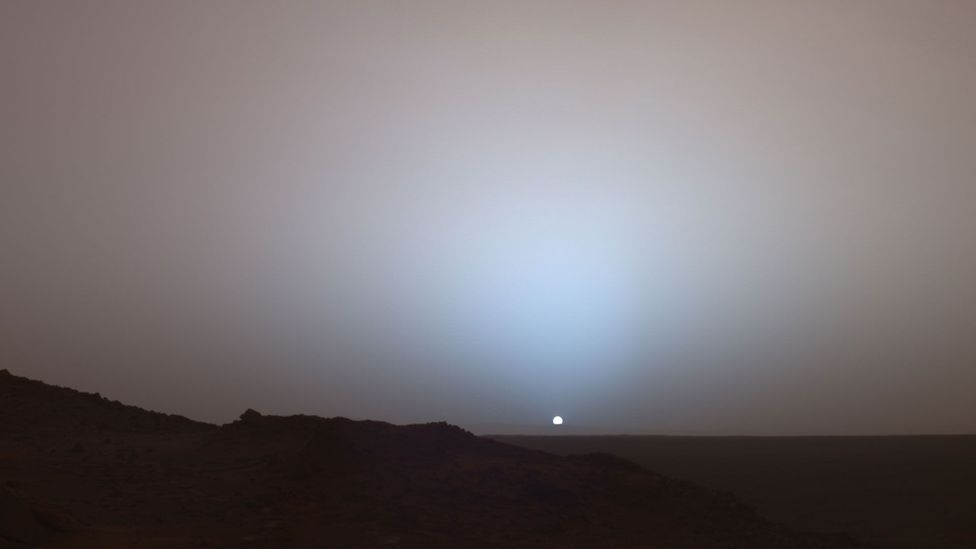 The red dust in the Martian atmosphere actually means sunsets are blue (Credit: Nasa)