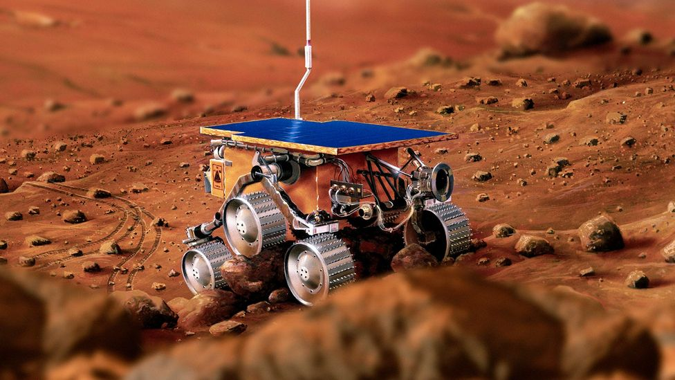 While humans live in the atmosphere above, robots can scour the surface for resources (Credit: Science Photo Library)