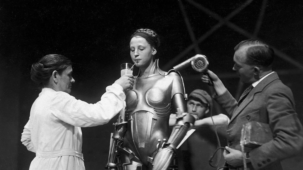 Fritz Lang's Metropolis may have introduced onscreen the idea of the 'sexy robot' who seduces men –  and enjoys a drink when the cameras aren't rolling (Credit: Kino Lorber)