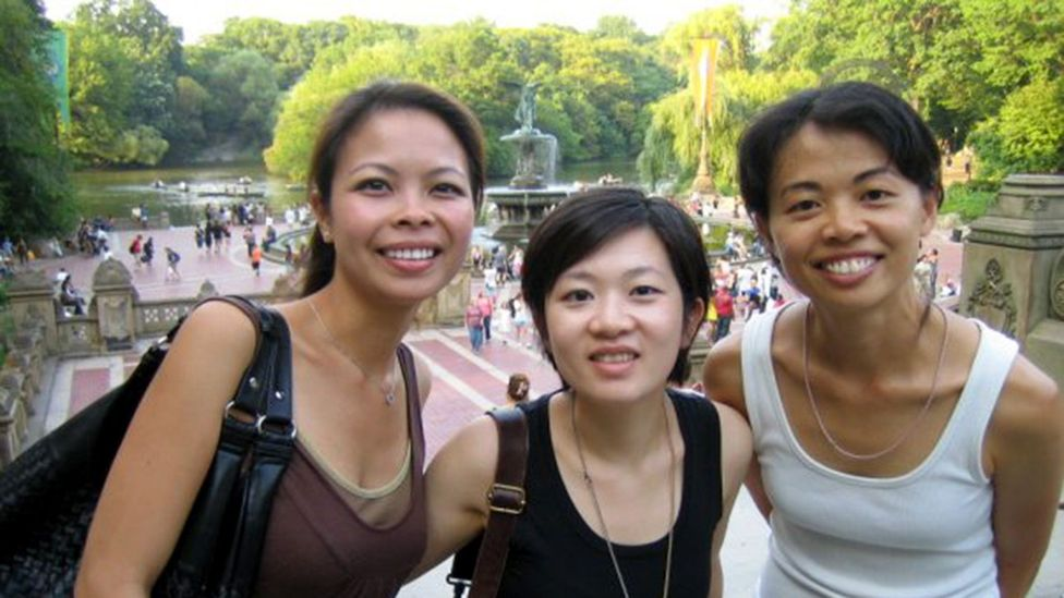 Mei-Ho Lee (right) with friends at Central Park in New York City (Credit: A. Ghows)