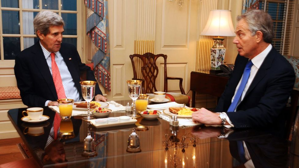 US Secretary of State John Kerry and former UK Prime Minister Tony Blair meet for breakfast. It could be the most persuasive meeting time of the day (Credit: Alamy)