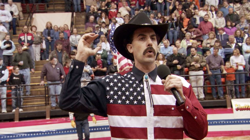 """At a US rodeo Borat elicited applause when he declared, """"May your George Bush drink the blood of every man, woman and child in Iraq"""" (Credit: Alamy)"""