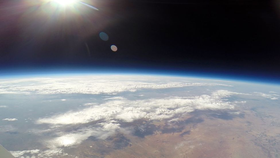 At such high altitudes, the sky is a deep black, and you can see the curvature of the Earth (Credit: World View)