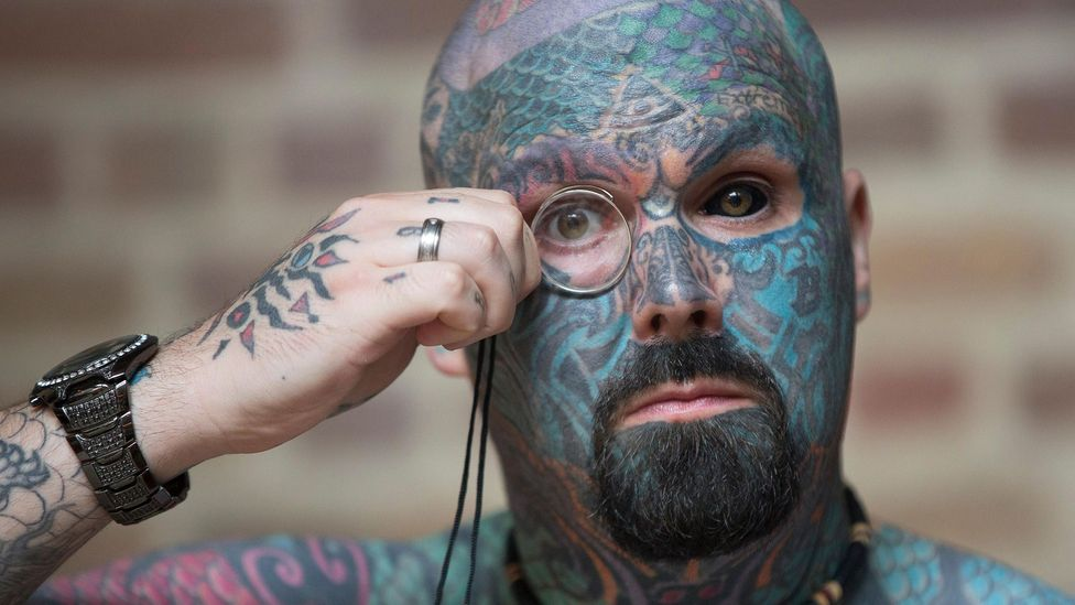 The art still has devout practitioners today, like the man shown here at the International Tattoo Convention in London (Credit: Reuters/Alamy)
