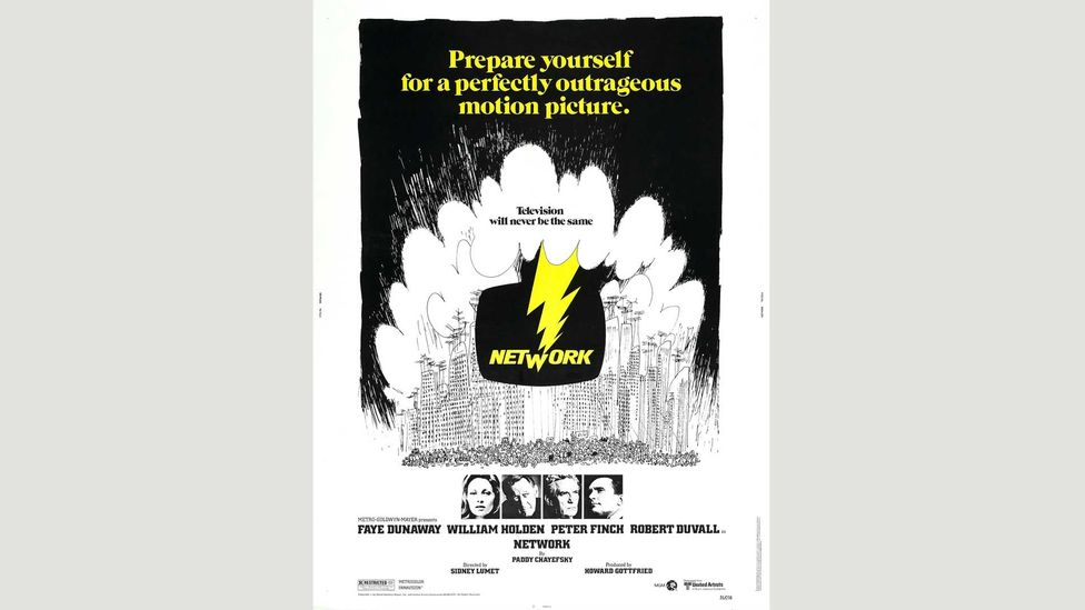 """The Network poster warned audiences to prepare themselves """"for a perfectly outrageous motion picture"""" (Credit: Alamy)"""