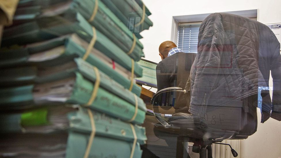 Some workers take to building their own symbolic barriers for privacy (Credit: Alamy)
