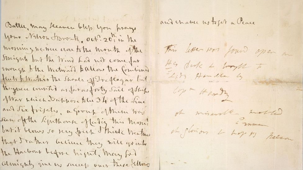 Horatio Nelson's last letter to Emma Hamilton, 19 October 1805 (Credit: British Library)