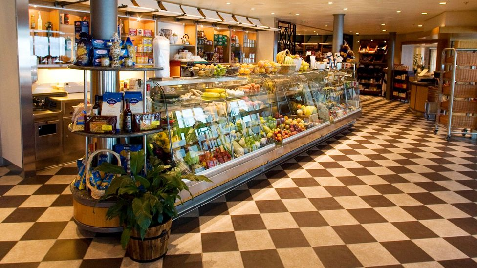 The World, a residential cruise ship, has its own grocery, among other things. (Credit: Getty Images)