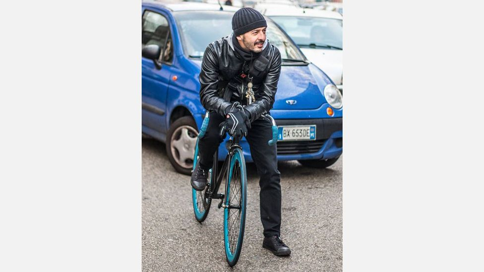 Two years after starting to cycle to work occasionally in 2010, Italian Marco Mazzei sold his car and now commutes 16km each way (Credit: Marco Mazzei)