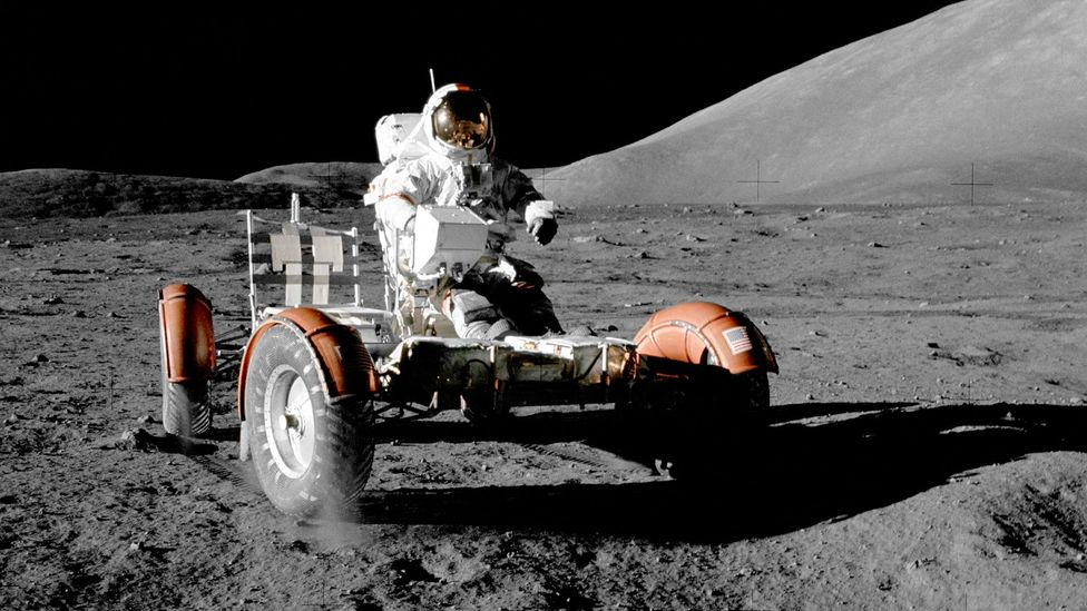 The lunar rovers were only allowed to travel up to six miles from the module, in case they broke down (Credit: Science Photo Library)