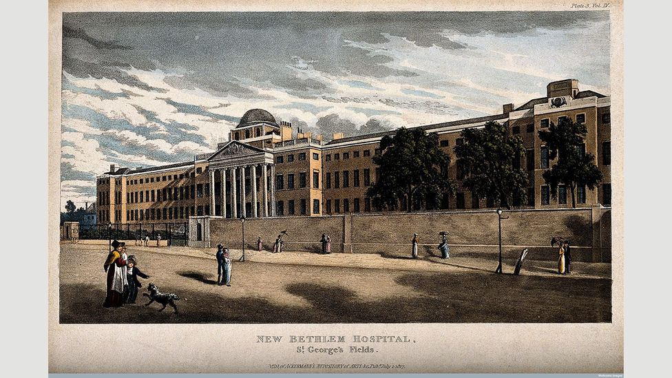 The Versailles-like version of Bethlem was torn down in 1815 and replaced by this stark building at St George's Fields in Southwark (Credit: Wellcome Library, London)