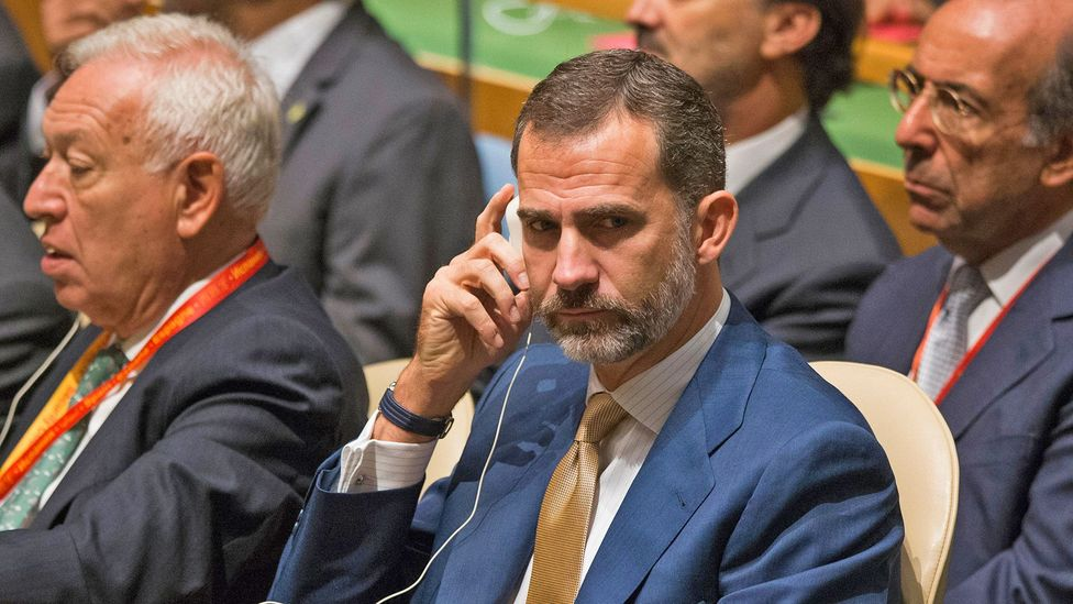 Spanish King Felipe VI listens to a translation at the UN (Credit: Alamy)